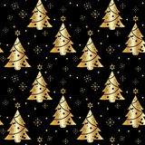 Festive background.Seamless pattern in gold color on a dark background. Tree. Christmas and New year.Texture for web,print,Wallpaper,decoration,winter,fashion Stock Images