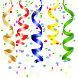 Festive background with a serpentine and confetti. Vector  illustration Stock Photos
