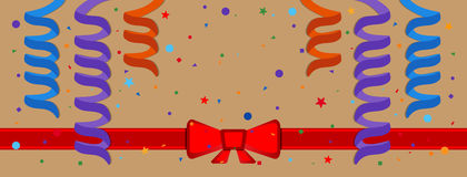 Festive background. With serpentine and red ribbon. Eps 10 Stock Photos
