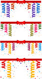 Festive background. Set of festive border with serpentine and red ribbon. Eps 10 Stock Photography