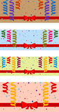 Festive background. Set of festive background with serpentine and red ribbon. Eps 10 Royalty Free Stock Image