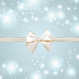 Festive background with silver and golden bow Royalty Free Stock Image