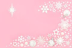 Festive Background Snowflake and Bauble Composition