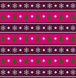Festive background  with snowflakes and  christmas trees print. Festive pink, white and purple seamless  striped background  with snowflakes and green christmas Stock Photo