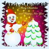 Festive background with snowman. Illustration festive background with snowman by fir tree and festoon Royalty Free Stock Photo