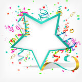 Festive background. With stars and streamer Royalty Free Stock Images