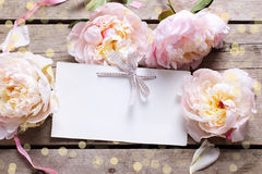 Festive background with sweet pink peonies flowers  and empty ta Stock Photography