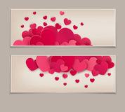 Festive background Valentine`s Day. Vintage. Template for postcards with many hearts. Vector illustration Royalty Free Stock Photography