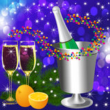 Festive background with wine goblet and orange Royalty Free Stock Photos