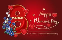 Festive background for Womens Day. Happy Women`s Day. 8th March. Vector illustration Royalty Free Stock Photos