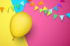 Festive background with yellow balloon and flags. Festive background with yellow realistic 3d balloon and garlands of colorful flags. Vector illustration.r Royalty Free Stock Photo