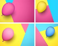 Festive backgrounds with color realistic balloon. Set of festive backgrounds with color realistic 3d balloon. Vector illustration Royalty Free Stock Photography