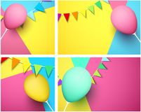 Festive backgrounds with colorful balloon and flags. Festive backgrounds with colorful 3d balloon and garland of flags. Vector illustration Stock Photos