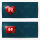 Festive backgrounds for congratulations. Festive backgrounds with red gift boxes, with place for congratulations. Horizontal banners Stock Image
