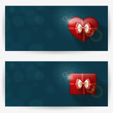 Festive backgrounds for congratulations. Festive backgrounds with red gift boxes, with place for congratulations. Horizontal banners Stock Images