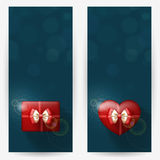 Festive backgrounds for congratulations. Festive backgrounds with red gift boxes, with place for congratulations. Vertical banners Royalty Free Stock Images