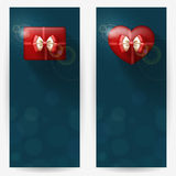 Festive backgrounds for congratulations. Festive backgrounds with red gift boxes, with place for congratulations. Vertical banners Stock Photos
