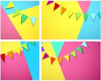 Festive backgrounds with garland of colorful flags. Set of festive backgrounds with garland of colorful flags. Vector paper illustration.r Stock Image