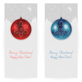 Festive backgrounds. Set of two festive backgrounds in gray colours with bright blue and red Christmas balls and winter landscape Royalty Free Stock Photos
