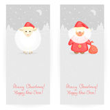 Festive backgrounds. Set of two festive backgrounds in gray colours with New Year's sheep and Ded Moroz, and winter landscape Stock Photography