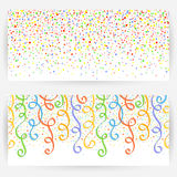 Festive backgrounds. Set of two festive backgrounds with seamless pattern from circles and ribbons.Horizontally elongated rectangular backgrounds Stock Photo