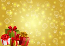 Festive backgroung with gifts. In traditional holiday style Royalty Free Stock Photos