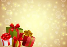 Festive backgroung with gifts. In traditional holiday style Royalty Free Stock Image