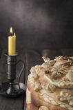 Festive baked bread on wooden background. Royalty Free Stock Photos