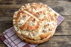 Festive bakery Holiday Bread. On wooden table Royalty Free Stock Photography
