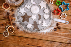 Festive baking and decorating cookies. On table Royalty Free Stock Photo