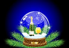 Festive ball with a bottle and glass of champagne inwardly Stock Image