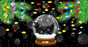Festive ball and branches of tree with a serpentine and confetti. Vector illustration Stock Photography