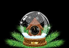 Festive ball with a clock as a house inwardly Royalty Free Stock Images