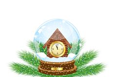 Festive ball with a clock as a house inwardly Stock Photos