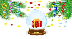 Festive ball with a gift inwardly and branches of tree. Vector illustration Royalty Free Stock Photography