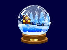 Festive ball with winter landscape inwardly. Vector illustration Stock Photography