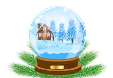 Festive ball with winter landscape inwardly Stock Photos