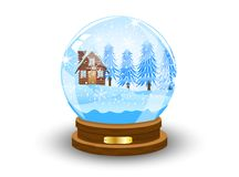 Festive ball with winter landscape inwardly. Vector illustration Stock Photo