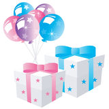 Festive balloon with gifts Royalty Free Stock Image