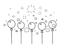 Festive balloons background, line style vector illustration.  Royalty Free Stock Photo