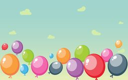 Festive balloons background on sky. Illustration of Festive balloons background with big space for your advertising Royalty Free Stock Photos