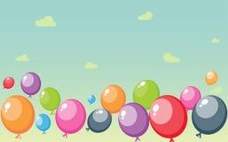 Festive balloons background on sky Royalty Free Stock Photos