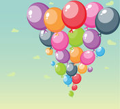 Festive balloons background on sky. Illustration of Festive balloons background with big space for your advertising Stock Images