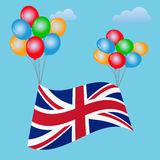Festive balloons background with United Kingdom Flag. Brexit. Stock Photography