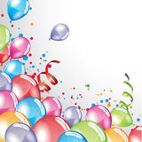 Festive Balloons background. Vector festive Balloons background and colorful confetti Stock Photos