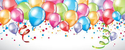 Festive Balloons background. Vector festive Balloons background and colorful confetti Stock Images