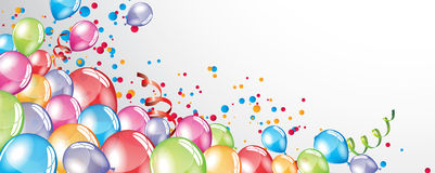 Festive Balloons background. Vector festive Balloons background and colorful confetti Royalty Free Stock Photography