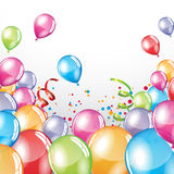 Festive Balloons background. Vector festive Balloons background and colorful confetti Stock Photography