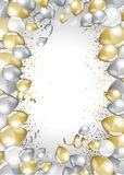 Festive Balloons card. Silver and gold balloons and glitter festive card Stock Image