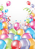 Festive Balloons card. Vector festive Balloons card and colorful confetti Stock Photography